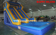 Best Blue Inflatable Water Slide 0.55mm PVC Tarpaulin For Amusement Park RQL-00303 for sale