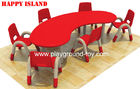 China Preschool Classroom Furniture , Kindergarten Classroom Furniture Children Half Moon Group Learning Table distributor