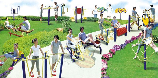 Three People Walking Machines , Commercial Gym Equipment For Amusement Park