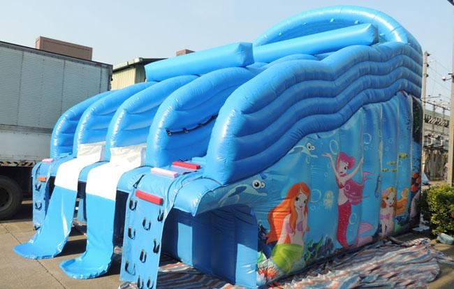 Blue Children Inflatable Water Slide With Oxford Cloth And PVC Coating RQL-00204