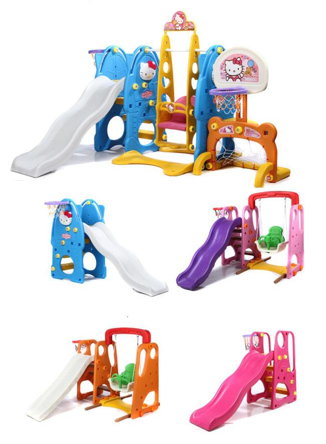 CE Approved Outdoor Plastic Playground Kids Toys With Swing , Slide , Basketball Hoop