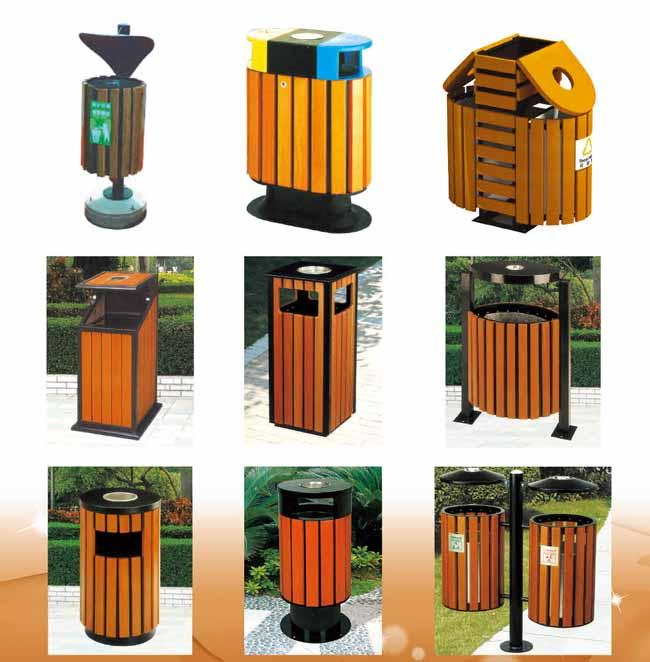 Pine Solide Wood Park Trash Cans , Outside Trash Cans For Recycling RHA-14804